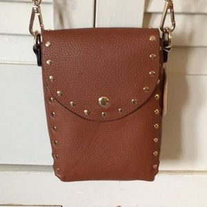 Handbags - Vegan Isabelle Leather Camel Colored Studded Bag